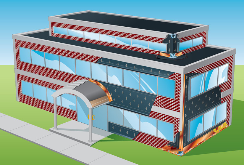 Commercial Building Materials Illustration